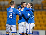 St Johnstone v Livingston.....30.11.13     Scottish Cup 4th Round<br /> Sanil Jahic celebrates his goal with Stevie May and Gary McDonald<br /> Picture by Graeme Hart.<br /> Copyright Perthshire Picture Agency<br /> Tel: 01738 623350  Mobile: 07990 594431