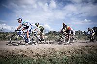 Niki Terpstra (NED/Total Direct Energie) ahead of Belgian Champion Tim Merlier (BEL/Corendon Circus) on a gravel sector. <br /> <br /> Antwerp Port Epic 2019 <br /> One Day Race: Antwerp > Antwerp 187km<br /> <br /> ©kramon