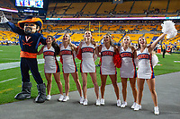 Virginia Cavalier cheerleaders and Virginia mascot sing in victory after the game. The Virginia Cavaliers defeated the Pitt Panthers 30-14 in a football game at Heinz Field, Pittsburgh, Pennsylvania on August 31, 2019.