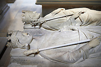 Medieval tomb and statue of (rear) Louis II ( 863 - 882), King of France 879 - 882 (foreground) Carloman (866 - 884) King of France 879 - 884 ,  sons of Charles  II le Chauve son of Charlemagne.. The Gothic Cathedral Basilica of Saint Denis ( Basilique Saint-Denis ) Paris, France.  A UNESCO World Heritage Site.