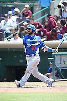 Julian Leon (43) of the Inland Empire 66ers bats against the Rancho Cucamonga Quakes at San Manuel Stadium on April 27, 2016 in San Bernardino, California. Rancho Cucamonga defeated Inland Empire, 2-1. (Larry Goren/Four Seam Images)