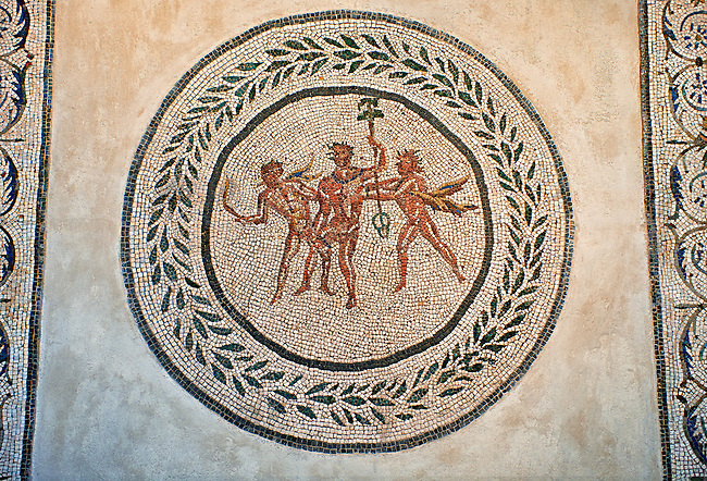 Floor mosaic with Dionysus and satyrs at the center within laurel wreath. From the villa of Farnese at S.Giacomo in Settimiana, Rome. 2nd century AD. National Roman Museum, Rome, Italy