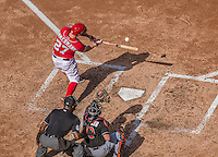 28 September 2014: Washington Nationals starting pitcher Jordan Zimmermann singles to left in the 7th inning of a game ending up with his first career no-hitter against the Miami Marlins at Nationals Park in Washington, DC. The Nationals shut out the Marlins 1-0, caping the season with the first Nationals no-hitter in modern times. The win also notched a 96 win season for the Nats: the best record in the National League. Mandatory Credit: Ed Wolfstein Photo *** RAW (NEF) Image File Available ***