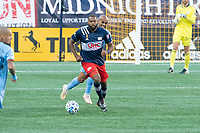 FOXBOROUGH, MA - SEPTEMBER 19: Andrew Farrell #2 of New England Revolution in the backfield with Heber #9 of New York City FC behind during a game between New York City FC and New England Revolution at Gillette on September 19, 2020 in Foxborough, Massachusetts.