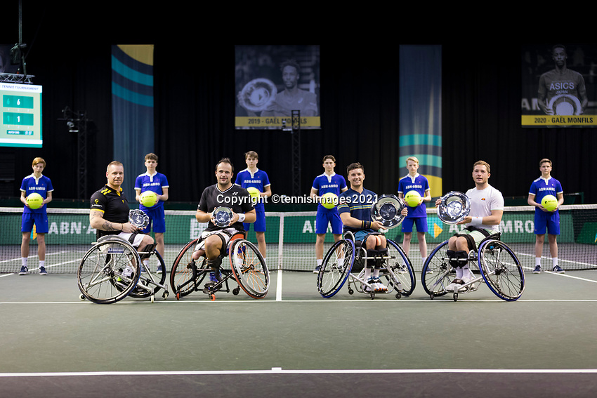 Rotterdam, The Netherlands,7 march  2021, ABNAMRO World Tennis Tournament, Ahoy,  <br /> Doubles Final Wheelchair: Finalists Alfie Hewett (GBR) (R) / Gordon Reid (GBR) (R) and runners up Tom Egeberink (NED) / Maikel Scheffers (NED) (L).<br /> Photo: www.tennisimages.com/henkkoster