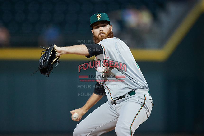 Greensboro Grasshoppers relief pitcher Colin Selby (48) in action against the Winston-Salem Dash at Truist Stadium on June 15, 2021 in Winston-Salem, North Carolina. (Brian Westerholt/Four Seam Images)
