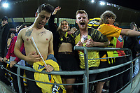 Fans celebrate getting Oli Sail's autograph during the A-League football match between Wellington Phoenix and Western United FC at Sky Stadium in Wellington, New Zealand on Saturday, 22 May 2021. Photo: Dave Lintott / lintottphoto.co.nz