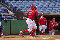 Clearwater Threshers infielder D.J. Stewart (12) bats during a game against the Dunedin Blue Jays on May 19, 2021 at BayCare Ballpark in Clearwater, Florida. (Mike Janes/Four Seam Images)