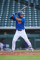 AZL Cubs 1 Oswaldo Pina (60) at bat during an Arizona League game against the AZL D-backs on July 25, 2019 at Sloan Park in Mesa, Arizona. The AZL D-backs defeated the AZL Cubs 1 3-2. (Zachary Lucy/Four Seam Images)