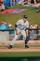 West Michigan Whitecaps first baseman Reynaldo Rivera (14) during a game against the Kane County Cougars on July 19, 2018 at Northwestern Medicine Field in Geneva, Illinois.  Kane County defeated West Michigan 8-5.  (Mike Janes/Four Seam Images)
