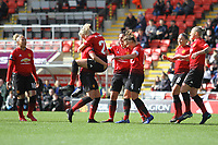 Kirsty Smith (Manchester United Women) celebrates after scoring during the English Womens Championship match between Manchester United Women and Leicester City Women at Leigh Sports Village, Leigh, England on 10 March 2019. Photo by James Gill / PRiME Media Images.