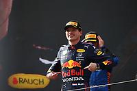 July 4th 2021; Red Bull Ring, Spielberg, Austria; F1 Grand Prix of Austria, race day;  VERSTAPPEN Max (ned), Red Bull Racing Honda RB16B, portrait, celebrating his win