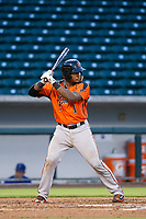 AZL Giants catcher Andres Angulo (1) at bat against the AZL Cubs on July 17, 2017 at Sloan Park in Mesa, Arizona. AZL Giants defeated the AZL Cubs 12-7. (Zachary Lucy/Four Seam Images)