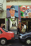 Tango mural of Carlos Gardel Plaza Dorrego, San Telmo,  Buenos Aires Argentina South America 2002 2000s