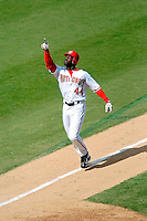 4 September 2005: Preston Wilson, outfielder for the Washington Nationals,celebrates his 22nd home-run of the season in a game against the Philadelphia Phillies. Wilson went 3 for 4, with his 3-run blast coming in the 7th inning, as the Nationals defeated the Phillies 6-1 at RFK Stadium in Washington, DC. Mandatory Photo Credit: Ed Wolfstein.