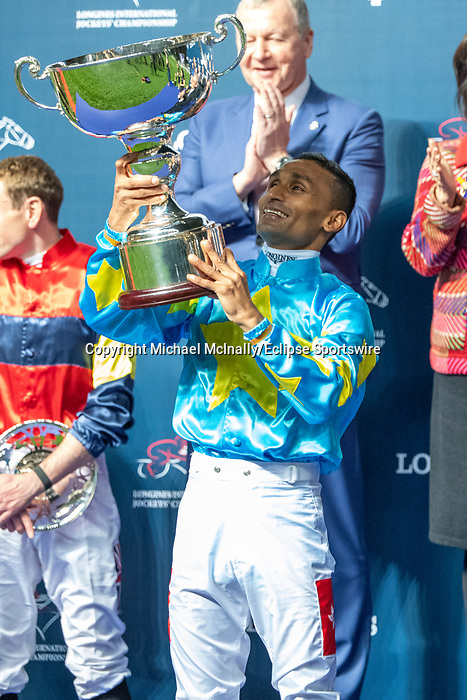 Happy Valley, Hong Kong - December 4:Karis Teetan winning the Longines International Jockey' Championship at Happy Valley Racecourse in Hong Kong. Michael McInally/Eclipse Sportswire/CSM
