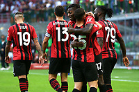 Rafael Leao of AC Milan celebrates with team mates after scoring the goal of 2-0 during the Serie A 2021/2022 football match between AC Milan and SS Lazio at Giuseppe Meazza stadium in Milano (Italy), August 29th, 2021. Photo Image Sport / Insidefoto