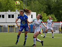 Fran Meersman (5) of AA Gent heads the ball away before Marie Detruyer (17) of OHL can get to the ball during a female soccer game between Oud Heverlee Leuven and AA Gent Ladies on the 9 th matchday of play off 1 in the 2020 - 2021 season of Belgian Womens Super League , saturday 22 nd of May 2021  in Heverlee , Belgium . PHOTO SPORTPIX.BE | SPP | SEVIL OKTEM