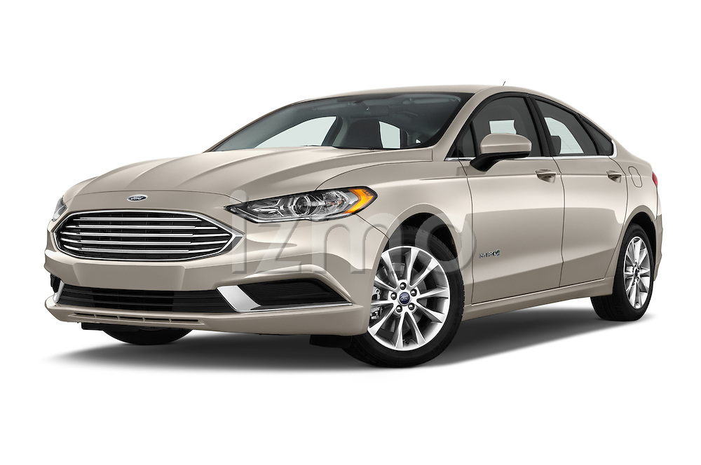 Stock pictures of low aggressive front three quarter view of 2017 Ford Fusion-Hybrid Hybrid-SE 4 Door Sedan Low Aggressive