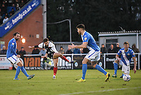 Alex Jones of Grimsby Town shoots at goal during the Vanarama National League match between Eastleigh and Grimsby Town at The Silverlake Stadium, Eastleigh, Hampshire on Nov 21, 2015. (Photo: Paul Paxford/PRiME)