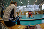 GER - Wettingen, Switzerland, February 18: During the women pool hockey match between HC Minsk (red) and SV Arminen (black) on February 18, 2017 at Sporthalle Taegerhard in Wettingen, Switzerland. Final score 2-2 (HT 0-1). (Photo by Dirk Markgraf / www.265-images.com) *** Local caption ***