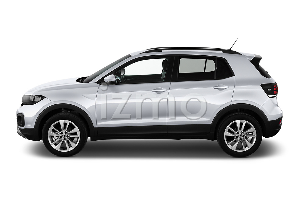 Car Driver side profile view of a 2019 Volkswagen T-Cross Life 5 Door SUV Side View