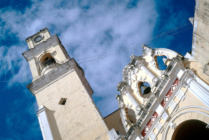 View looking up at a portion of the Cathedral in the Veracruz central plaza, dating from 1772. Veracruz, Xalapa (Jalapa) Mexico.