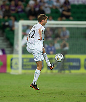 27th March 2021; HBF Park, Perth, Western Australia, Australia; A League Football, Perth Glory versus Newcastle Jets; Lachlan Jackson of the Newcastle Jets traps the high ball