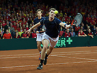 Gent, Belgium, November 28, 2015, Davis Cup Final, Belgium-Great Britain, day two, doubles match, Andy Murray/Jamie Murray (GBR) (R)<br /> Photo: Tennisimages/Henk Koster