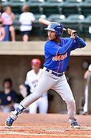 Kingsport Mets center fielder Ricardo Cespedes (32) awaits a pitch during a game against the Greeneville Astros at Pioneer Park on July 3, 2016 in Greeneville, Tennessee. The Mets defeated the Astros 11-0. (Tony Farlow/Four Seam Images)