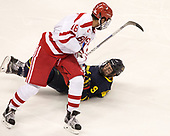 Jordan Greenway (BU - 18), Jace Hennig (Merrimack - 9) - The visiting Merrimack College Warriors defeated the Boston University Terriers 4-1 to complete a regular season sweep on Friday, January 27, 2017, at Agganis Arena in Boston, Massachusetts.The visiting Merrimack College Warriors defeated the Boston University Terriers 4-1 to complete a regular season sweep on Friday, January 27, 2017, at Agganis Arena in Boston, Massachusetts.