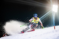 22nd December 2020, Madonna di Campiglio, Italy; FIS Mens slalom world cup race;  Marco Schwarz of Austria in action during his 1st run of mens Slalom