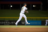 Mesa Solar Sox shortstop Eli White (21), of the Oakland Athletics organization, throws to first base during an Arizona Fall League game against the Scottsdale Scorpions at Sloan Park on October 10, 2018 in Mesa, Arizona. Scottsdale defeated Mesa 10-3. (Zachary Lucy/Four Seam Images)