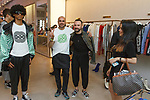 """Fashion designer Ricardo Seco (second from left) posing with team at his Ricardo Seco Spring Summer 2019 """"Vision"""" collection fashion presentation in Flying Solo, in New York City, on July 9, 2018; during New York Fashion Week: Men's Spring Summer 2019."""