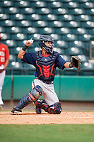 Atlanta Braves catcher Ray Soderman (72) throws back to the pitcher during a Florida Instructional League game against the Canadian Junior National Team on October 9, 2018 at the ESPN Wide World of Sports Complex in Orlando, Florida.  (Mike Janes/Four Seam Images)