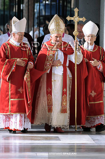 Pope Benedict XVI oversees a vespers service for St. Peter and St. Paul's day in the St. Paul Outside the Walls Basilica in Rome on June 28, 2009. The pontiff said recent scientific tests on what are believed to be the remains of the Apostle Paul 'seem to conclude' that they do indeed belong to the Roman Catholic saint