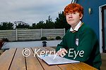Conan Dennehy at home in Cromane and a student at the Killorglin Community College with his Wellbeing and Creative Writing YSI project.