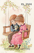 Interlitho, CHILDREN, nostalgic, paintings, 2 kids, swing(KL3536,#K#) Kinder, niños, nostalgisch, nostálgico, illustrations, pinturas