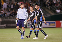 Joe Cannon (1) Chris Leitch (4) and Ryan Cochrane (5) walk off the field at half time. San Jose Earthquakes tied Los Angeles Galaxy 1-1 at the McAfee Colisum in Oakland, California on April 18, 2009.
