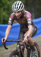 Alicia Franck of Belgium pedals through the mud Wednesday, Oct. 13, 2021, while competing in the Union Cycliste Internationale Cyclo-cross World Cup at Centennial Park in Fayetteville. The city was one of 16 sites around the globe to hold a world cup event this year for Union Cycliste Internationale, known as International Cycling Union in the United States. Fayetteville will host the UCI World Championships at Centennial Park Jan. 28-30. Visit nwaonline.com/211014Daily/ for today's photo gallery.<br /> (NWA Democrat-Gazette/Andy Shupe)