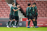 23rd December 2020; Bet365 Stadium, Stoke, Staffordshire, England; English Football League Cup Football, Carabao Cup, Stoke City versus Tottenham Hotspur; Harry Kane of Tottenham Hotspur celebrates his goal in the  81st minute to put Spurs ahead 1-3