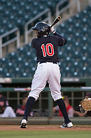 AZL Indians 1 designated hitter Jhan Rodriguez (10) at bat during an Arizona League game against the AZL White Sox at Goodyear Ballpark on June 20, 2018 in Goodyear, Arizona. AZL Indians 1 defeated AZL White Sox 8-7. (Zachary Lucy/Four Seam Images)