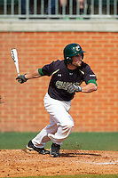 Derek Gallello (41) of the Charlotte 49ers follows through on his swing against the Canisius Golden Griffins at Hayes Stadium on February 23, 2014 in Charlotte, North Carolina.  The Golden Griffins defeated the 49ers 10-1.  (Brian Westerholt/Four Seam Images)