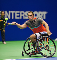 Rotterdam,Netherlands, December 15, 2015,  Topsport Centrum, Lotto NK Tennis, Wheelchair tennis, Tom Egberink (NED)<br /> Photo: Tennisimages/Henk Koster