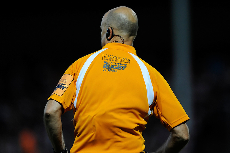 20130801 Copyright onEdition 2013 ©<br /> Free for editorial use image, please credit: onEdition.<br /> <br /> JP Morgan branding on an assistant referee's shirt during the J.P. Morgan Asset Management Premiership Rugby 7s Series.<br /> <br /> The J.P. Morgan Asset Management Premiership Rugby 7s Series kicks off for the fourth season on Thursday 1st August with Pool A at Kingsholm, Gloucester with Pool B being played at Franklin's Gardens, Northampton on Friday 2nd August, Pool C at Allianz Park, Saracens home ground, on Saturday 3rd August and the Final being played at The Recreation Ground, Bath on Friday 9th August. The innovative tournament, which involves all 12 Premiership Rugby clubs, offers a fantastic platform for some of the country's finest young athletes to be exposed to the excitement, pressures and skills required to compete at an elite level.<br /> <br /> The 12 Premiership Rugby clubs are divided into three groups for the tournament, with the winner and runner up of each regional event going through to the Final. There are six games each evening, with each match consisting of two 7 minute halves with a 2 minute break at half time.<br /> <br /> For additional images please go to: http://www.w-w-i.com/jp_morgan_premiership_sevens/<br /> <br /> For press contacts contact: Beth Begg at brandRapport on D: +44 (0)20 7932 5813 M: +44 (0)7900 88231 E: BBegg@brand-rapport.com<br /> <br /> If you require a higher resolution image or you have any other onEdition photographic enquiries, please contact onEdition on 0845 900 2 900 or email info@onEdition.com<br /> This image is copyright the onEdition 2013©.<br /> <br /> This image has been supplied by onEdition and must be credited onEdition. The author is asserting his full Moral rights in relation to the publication of this image. Rights for onward transmission of any image or file is not granted or implied. Changing or deleting Copyright information is illegal as specified in the Copyright, Design and Patents