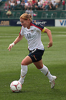USWNT's Lori Chalupny (17) dribbles the ball. The U.S. Women's National Team defeated Canada 1-0 in a friendly match at Marina Auto Stadium in Rochester, NY on July 19, 2009. Abby Wambach of the USWNT scored her 100th career goal in the second half..
