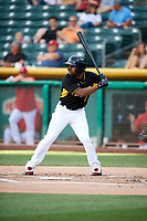 Michael Bourn (1) of the Salt Lake Bees bats against the Reno Aces in Pacific Coast League action at Smith's Ballpark on June 15, 2017 in Salt Lake City, Utah. The Aces defeated the Bees 13-5. (Stephen Smith/Four Seam Images)
