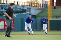AZL Cubs third baseman Cam Balego (82) has his moves mimicked by shortstop Luis Vazquez (18) during a game against the AZL Brewers on August 6, 2017 at Sloan Park in Mesa, Arizona. AZL Cubs defeated the AZL Brewers 8-7. (Zachary Lucy/Four Seam Images)