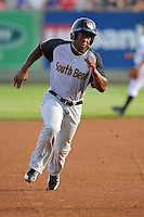 Center fielder Chuck Taylor # 11 of the South Bend Silver Hawks runs to third base against the Clinton LumberKings at Ashford University Field on July 26, 2014 in Clinton, Iowa. The Sliver Hawks won 2-0.   (Dennis Hubbard/Four Seam Images)