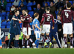 St Johnstone v Hearts..19.12.15  SPFL  McDiarmid Park, Perth<br /> Ref Kevin Clancy sends off Juanma Delgado Lloria after he headbutted David Wotherspoon<br /> Picture by Graeme Hart.<br /> Copyright Perthshire Picture Agency<br /> Tel: 01738 623350  Mobile: 07990 594431